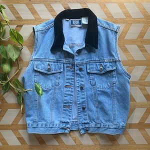 VTG | Velvet Collar Denim Vest